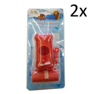 2 x DOG WASTE POOP BAGS with DISPENSER pet pooper scooper bag walking
